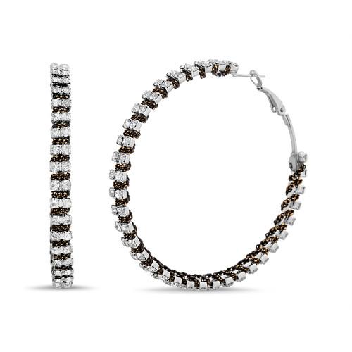 File Chain Wrapped Double Row Rhinestone Earrings