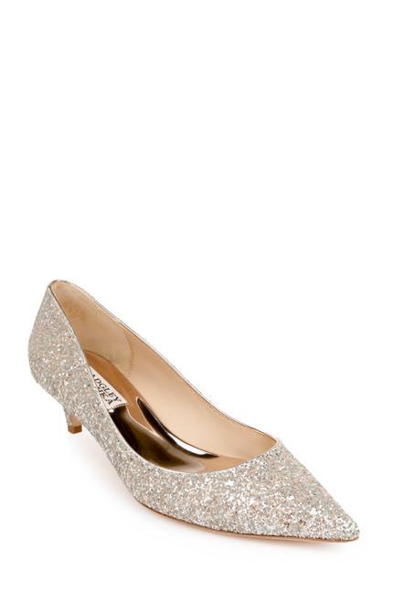Champagne Glitter Madison II Wide-Width Glitter Kitten Heel Front Side