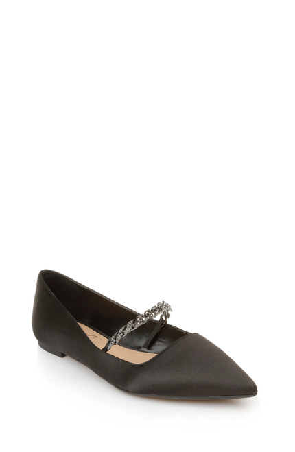 Black Jaclyn Pointed Toe Flat Front Side