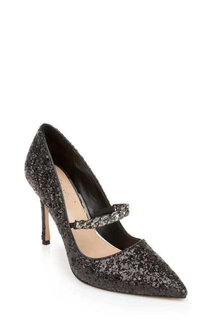 Black Glitter Jaden Pointed Toe Stiletto Front Side