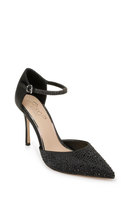 Black Jailene Ankle Strap Stiletto Front Side