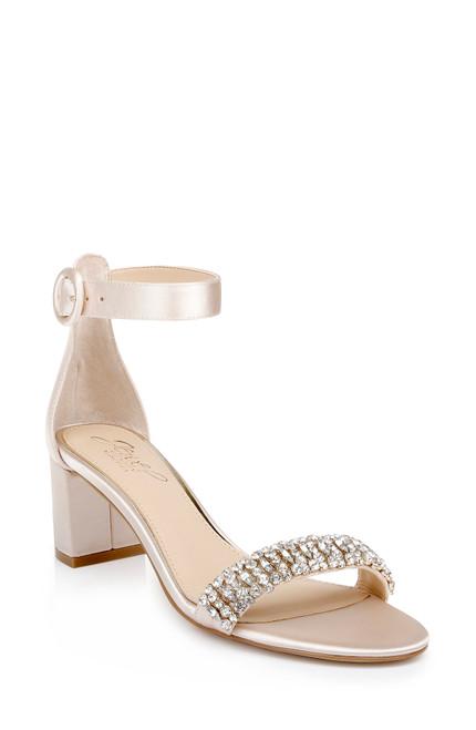 Champagne James Ankle Strap Block Heel Front Side
