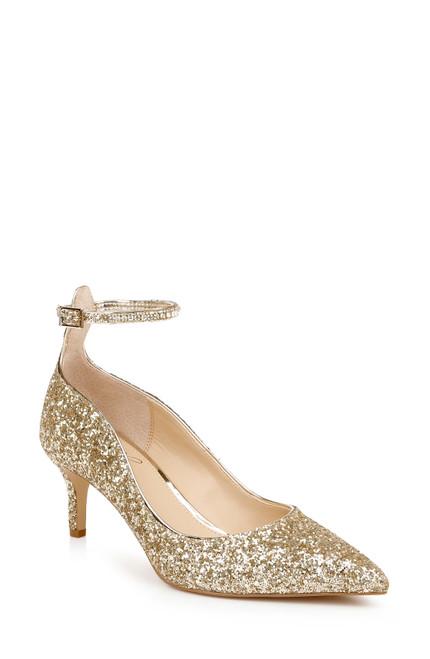 Gold Glitter Jamila Ankle Strap Kitten Heel Front Side