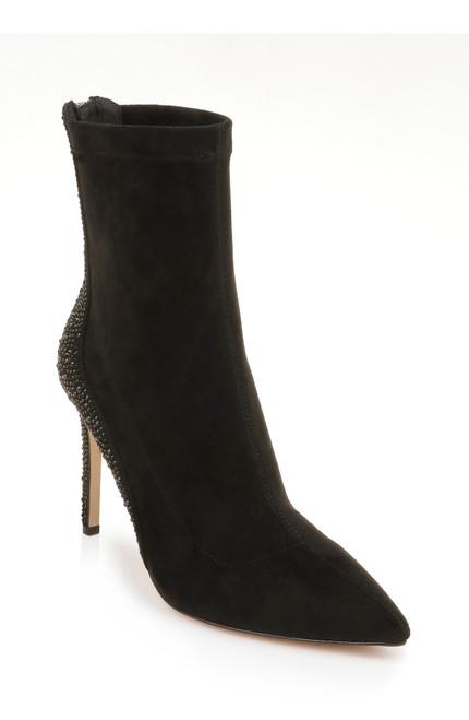 Black Suede Joss High Heel Bootie Front Side