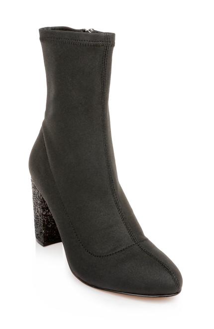 Black Jovanna Glitter Block Heel Bootie Front Side