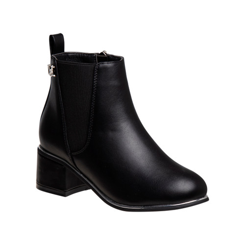 Black Girls' Low Top Leather Boots Front Side