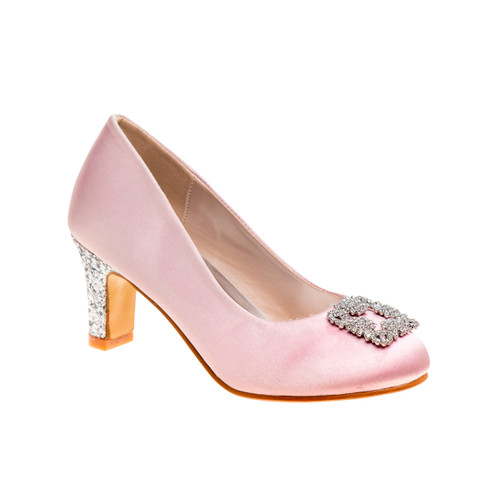 Pink Girls' Glitter Heel Dress Shoes Front Side