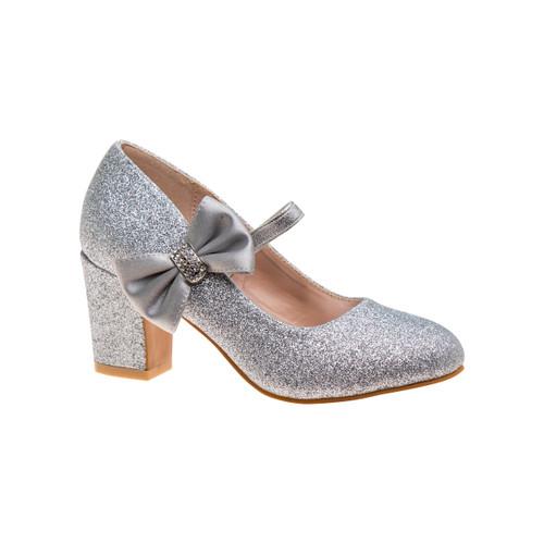 Silver Glitter Girls' Glitter Block Heel Dress Shoes Front Side