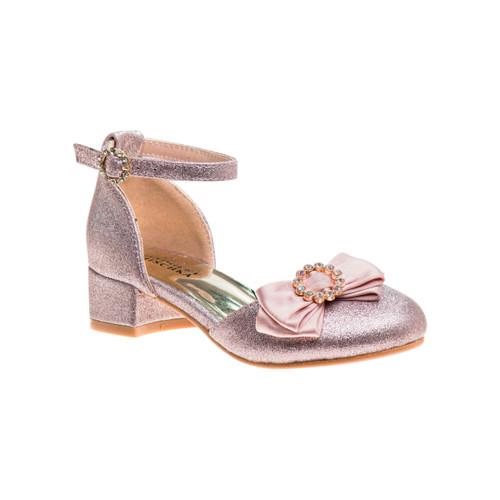 Pink Glitter Girls' Glittery Low Block Heel Dress Shoes Front Side