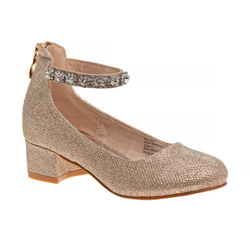 Champagne Girls' Glitter Mesh Block Heel Front Side