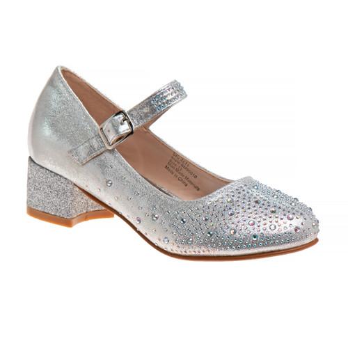 Silver Girls' Buckled Block Heel Dress Shoes Front Side