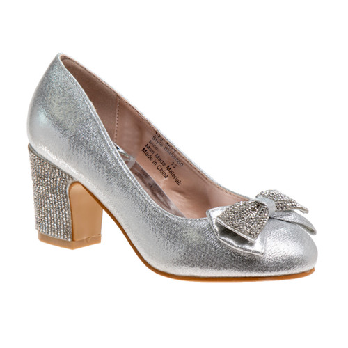 Silver Girls' Sparkle Studded Bow Dress Shoes Front Side