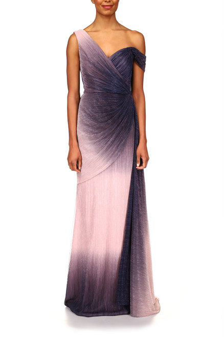 Blush Multi Ombré Crinkle Gown Front