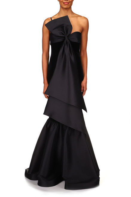 Black Mermaid Style Bow Fit-and-Flare Gown  Front