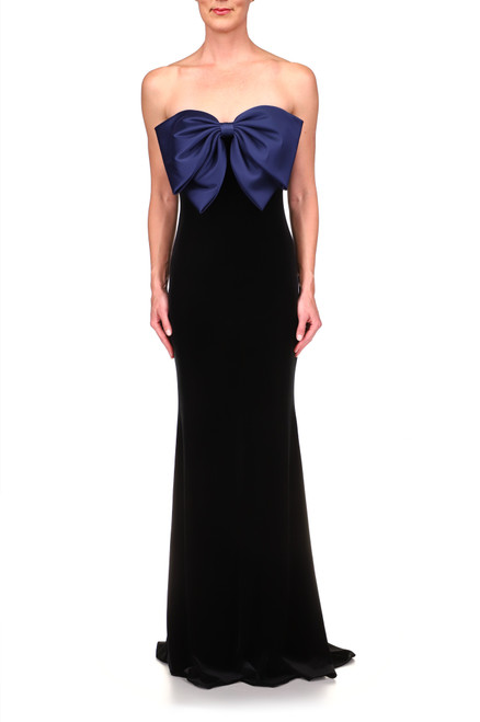 Black Bow Front Strapless Gown  Front
