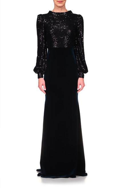 Black Multi Sequin and Velvet Gown   Front