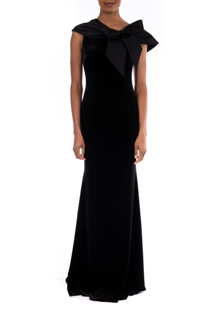 Black Asymmetrical Mermaid Stretch Crepe Gown   Front