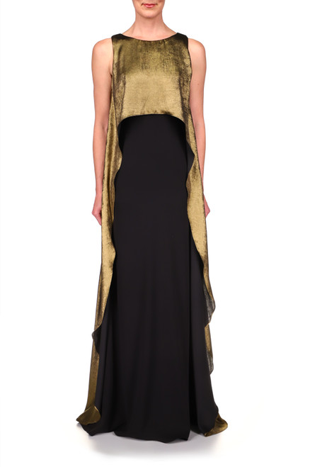 Black Gold Foiled Overlay Odessa Crepe Gown   Front