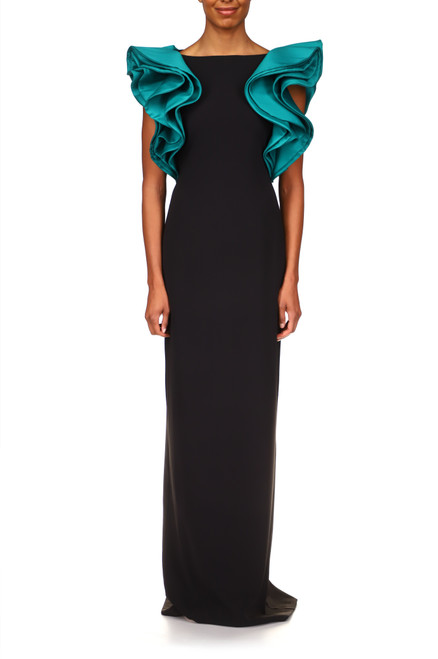 Black Emerald Stretch Crepe Gown with Mikado Ruffle    Front