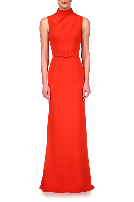 Red Orange Stretch Crepe High Neck Gown Front
