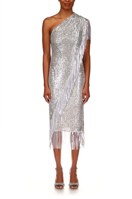Silver Sequin Fringe Cocktail Dress Front