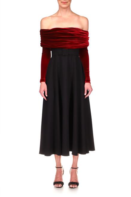 Wine Off-The-Shoulder Cocktail Dress Front