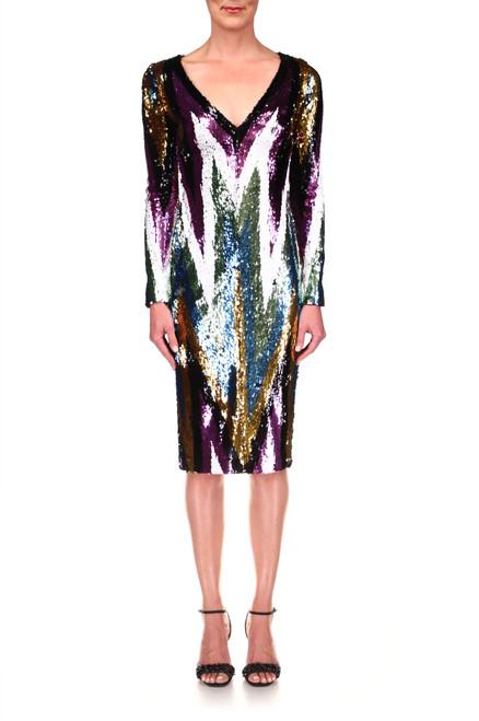 Black Multi Stretch Sequin Chevron Party Dress Front