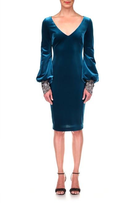 Peacock Velvet Balloon-Sleeve Beaded Cuff Dress Front
