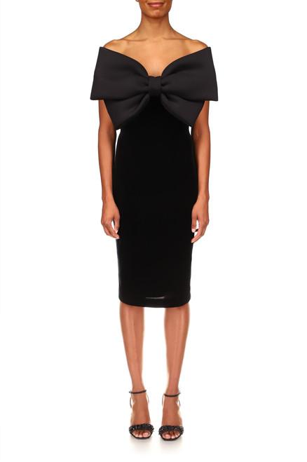 Black Scuba Bow-Front Velvet Cocktail Dress Front