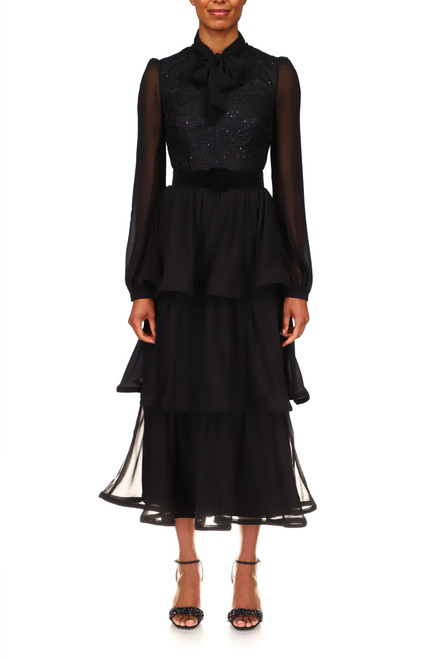 Black Georgette Tiered Midi Cocktail Dress Front