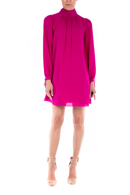 Hot Fuchsia Ansley Long Sleeve Georgette Trapeze Dress Front