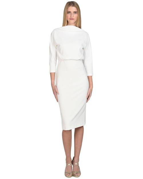 Ivory Boatneck Day Dress Front