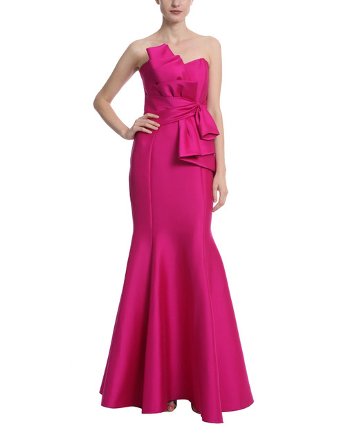 Deep Magenta Bow Front Gown Front