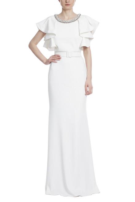 Light Ivory Embellished Neckline Draped Ruffle Shoulder Gown Front