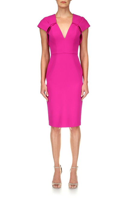 Fuchsia V-Neck Sheath Dress Front