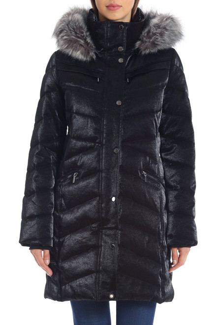 Black Iridescent Puffer Jacket Front