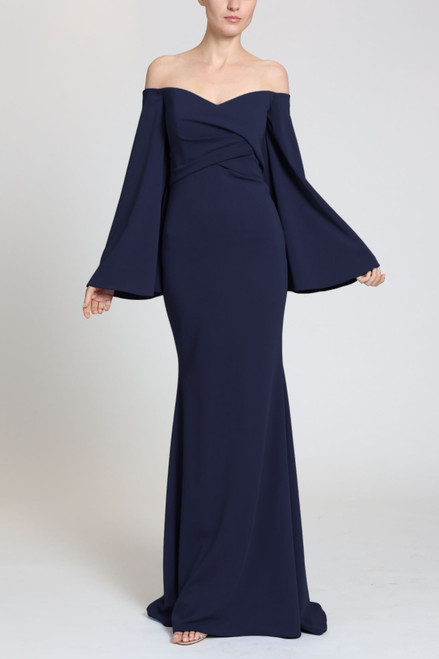 Navy Off-Shoulder Flare Sleeve Evening Gown Front