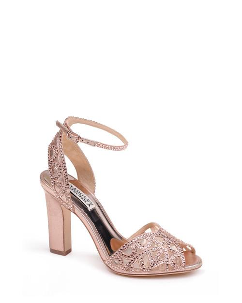 Rose Gold Hart Crystal Embellished Evening Shoe front