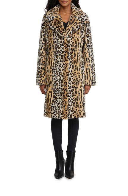 Natural Pax Pelt-Like Leopard Faux Fur CoatFront