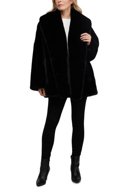 Black Pixie Beaver Faux Fur Coat Front