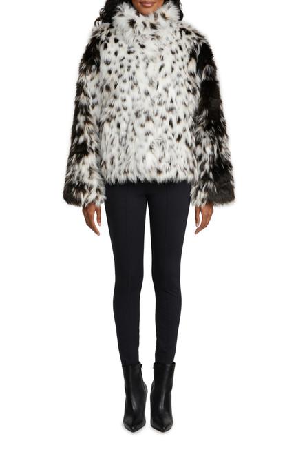 Cream Perri Novelty Snow Leopard Faux Fur JacketFront