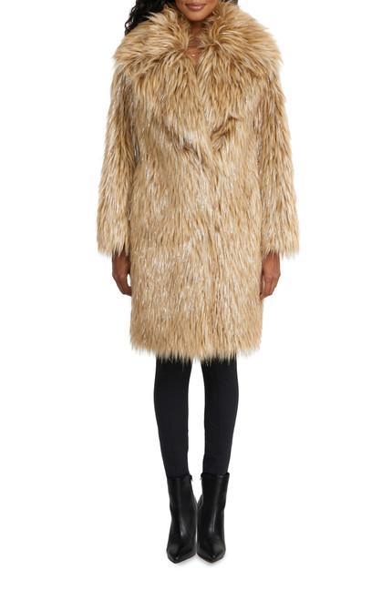 Gold Priscilla Long Hair Faux Fur Coat Front
