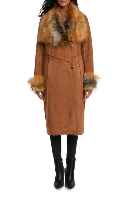 Cognac Pearl Reversible Faux Shearling Coat Front