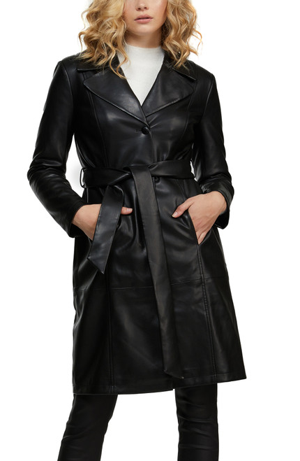 Black Payten Vegan Leather Belted Trench Coat Front
