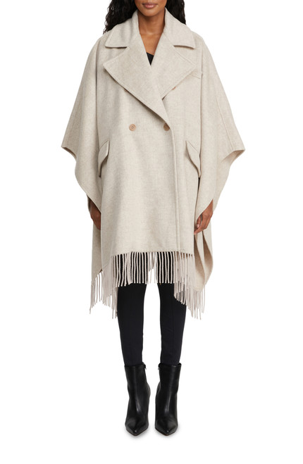 Oatmeal Peach Wool Cape Front