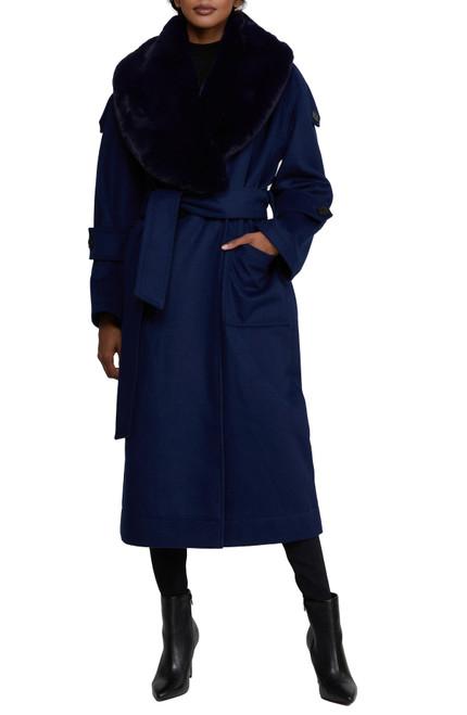Navy Mix Badgley Mischka Paige Feather Textured Wool Coat Front