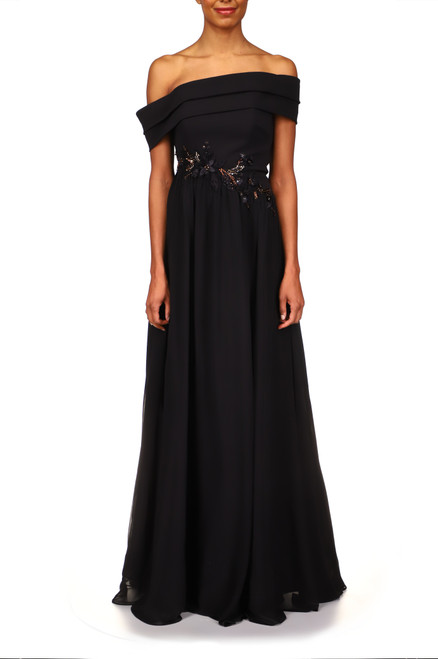 Black Gold Crepe and Georgette Off-the-Shoulder Gown Front
