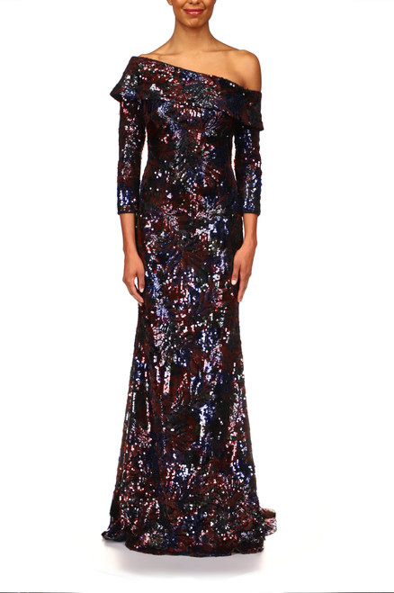 Black Multi Floral Sequin Single-Shoulder Gown Front