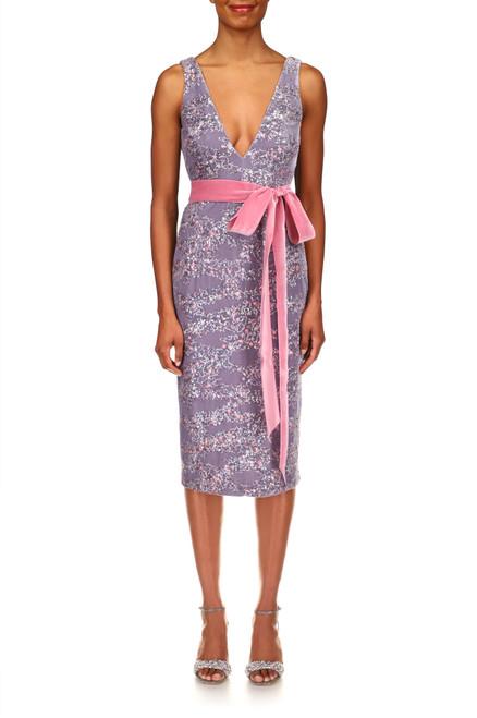 Dove Velvel & Sequin V-Neck Cocktail Dress Front