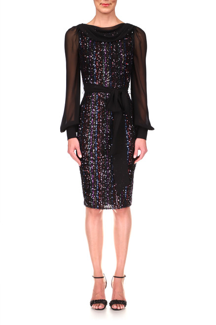 Black Stripe and Sequin Cocktail Dress Front